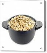 Oat Flakes In A Black Cup Acrylic Print by Alain De Maximy