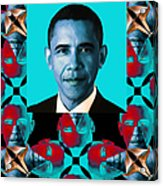 Obama Abstract Window 20130202verticalm180 Acrylic Print by Wingsdomain Art and Photography