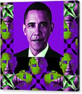 Obama Abstract Window 20130202verticalm88 Acrylic Print by Wingsdomain Art and Photography