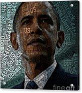 Obama Text Art Acrylic Print