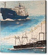 Ocean Phoenix And Excellence Boat Nautical Chart Map Art Acrylic Print