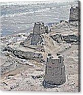 Ocean Sandcastles Acrylic Print by Betsy Knapp