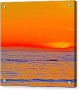 Ocean Sunset In Orange And Blue Acrylic Print