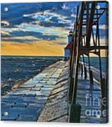 October Sunset At St. Joseph Lighthouse - Simulated Oil  Acrylic Print