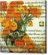 October's Child Birthday Card With Text And Marigolds Acrylic Print