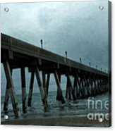Oean Pier - Surreal Stormy Blue Pier Beach Ocean Fishing Pier With Seagull Acrylic Print by Kathy Fornal