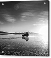 Off Road Uyuni Salt Flat Tour Black And White Acrylic Print