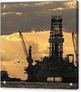 Offshore Rig At Dawn Acrylic Print by Bradford Martin