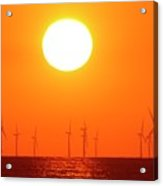 Offshore Wind Turbines At Sunset Acrylic Print