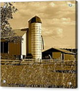 Ohio Farm In Sepia Acrylic Print by Frozen in Time Fine Art Photography