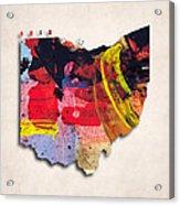 Ohio Map Art - Painted Map Of Ohio Acrylic Print