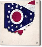Ohio Map Art With Flag Design Acrylic Print