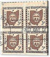 Ohio Three Cent Stamp Plate Block Acrylic Print
