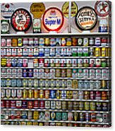 Oil Cans And Gas Signs Acrylic Print by Garry Gay