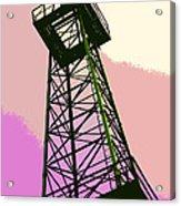 Oil Derrick In Pink Acrylic Print