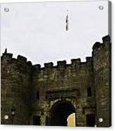 Oil Painting - British Flag Over A Doorway Inside The Stirling Castle Acrylic Print