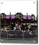 Oil Painting - Children And Adults At The Merry Go Round Inside The Blair Drumm Acrylic Print