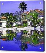 Oil Painting - Cottages And Lagoon Water Acrylic Print