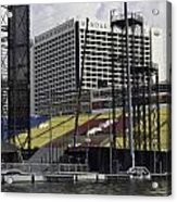 Oil Painting - Floating Platform And Construction Site In The Marina Bay Area Acrylic Print