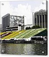 Oil Painting - Floating Platform In The Marina Bay Area In Singapore Acrylic Print