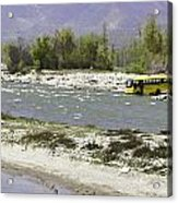 Oil Painting - Front Part Of School Bus In A Mountain Stream On The Outskirts Of Srinagar Acrylic Print