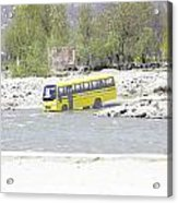 Oil Painting - School Bus In A Mountain Stream On The Outskirts Of Srinagar Acrylic Print