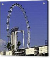 Oil Painting - Singapore Flyer And Marina Bay Sands Along With Preparation For  Acrylic Print