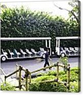 Oil Painting - Stationary Battery Powered Tourist Transport Vehicle Inside The Jurong Bird Park Acrylic Print