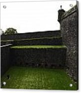 Oil Painting - The Depth Of The Moat Now Covered With Grass At Stirling Castle Acrylic Print