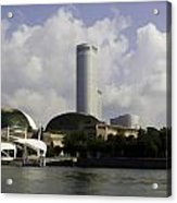 Oil Painting - The Swissotel Is A Tall Hotel In Singapore Next To The Esplanade Acrylic Print