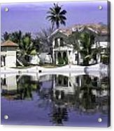 Oil Painting - View Of The Cottages And Palm Trees Acrylic Print