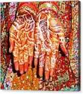 Oil Painting - Wonderfully Decorated Hands Of A Bride Acrylic Print