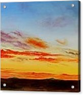 Oil Painting - When The Clouds Turn Red Acrylic Print