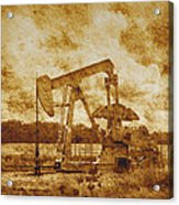 Oil Pump Jack In Sepia Two Acrylic Print