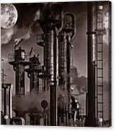 Oil Refinery With A Surreal Moonlight Acrylic Print