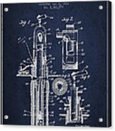 Oil Well Pump Patent From 1912 - Navy Blue Acrylic Print