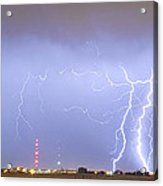 Oil Well Pumpjack Thunderstorm Panorama Acrylic Print