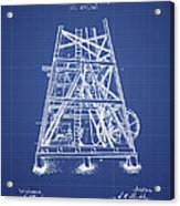 Oil Well Rig Patent From 1893 - Blueprint Acrylic Print