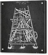 Oil Well Rig Patent From 1893 - Dark Acrylic Print