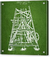 Oil Well Rig Patent From 1893 - Green Acrylic Print