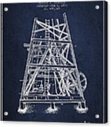 Oil Well Rig Patent From 1893 - Navy Blue Acrylic Print
