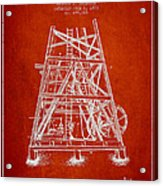 Oil Well Rig Patent From 1893 - Red Acrylic Print