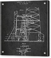 Oil Well Rig Patent From 1917- Dark Acrylic Print