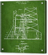 Oil Well Rig Patent From 1917- Green Acrylic Print