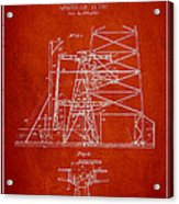 Oil Well Rig Patent From 1917- Red Acrylic Print