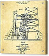 Oil Well Rig Patent From 1917- Vintage Acrylic Print