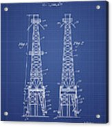 Oil Well Rig Patent From 1927 - Blueprint Acrylic Print