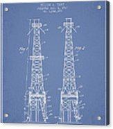 Oil Well Rig Patent From 1927 - Light Blue Acrylic Print