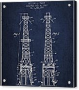 Oil Well Rig Patent From 1927 - Navy Blue Acrylic Print