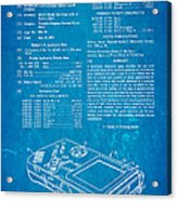 Okada Nintendo Gameboy Patent Art 1993 Blueprint Acrylic Print